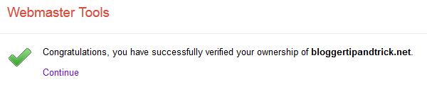 Verification Successful - Webmaster Tools