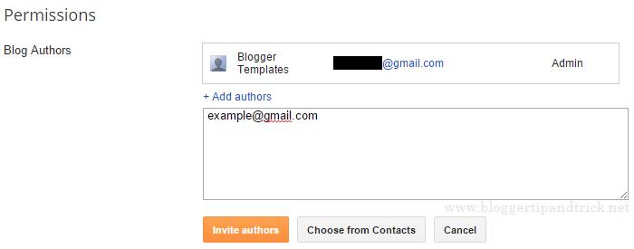 Blogger Invite Authors