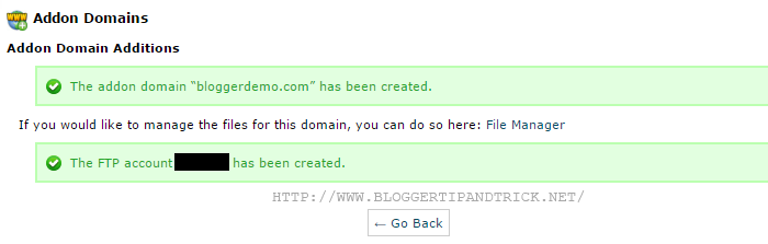 Addon Domains Creation Successful