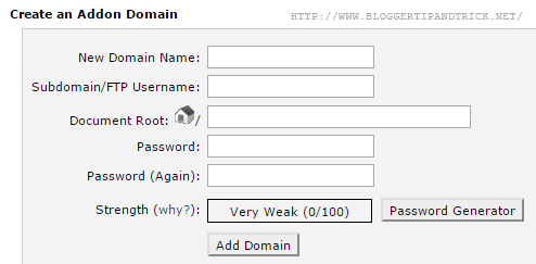 Fill Addon Domain Details