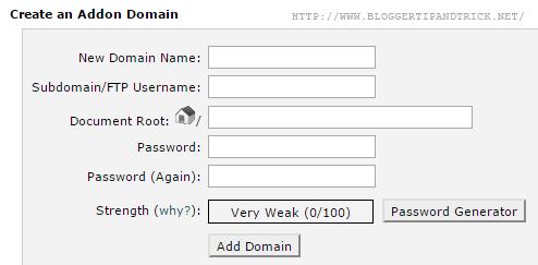 Fill Addon Domain Details