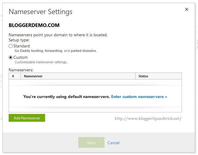 Select Setup type as Custom and Click Add Nameserver