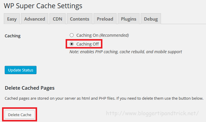 Caching Off - WP Super Cache