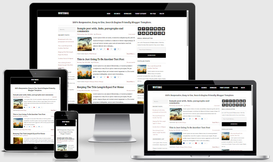 Responsive View - WhiteMag Blogger Template