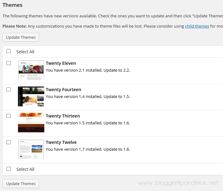 WP Theme Update Notifications