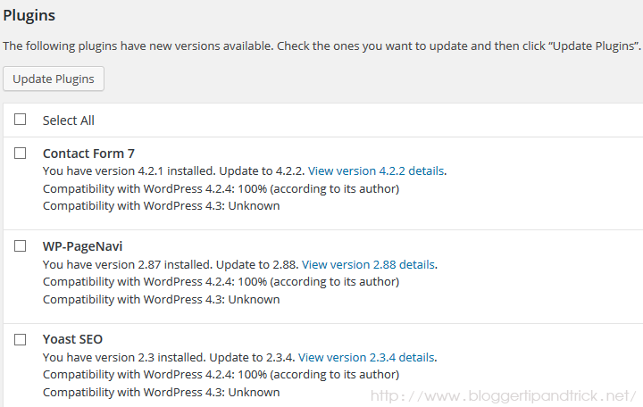 WordPress Plugin Update Notifications
