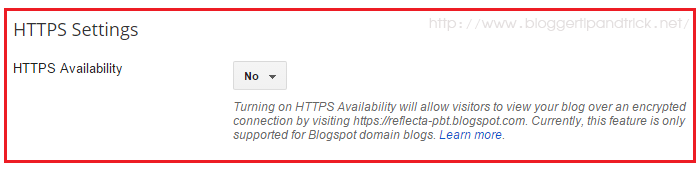 Blogger HTTPS Setting