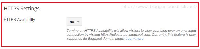 Blogger HTTPS Setting