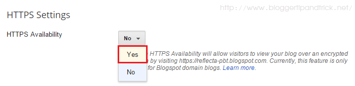 Enable HTTPS Support in Blogger
