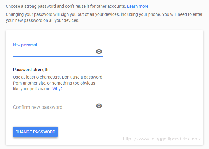 Enter and Confirm Your Password