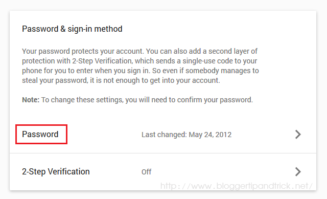 Password and sign-in method