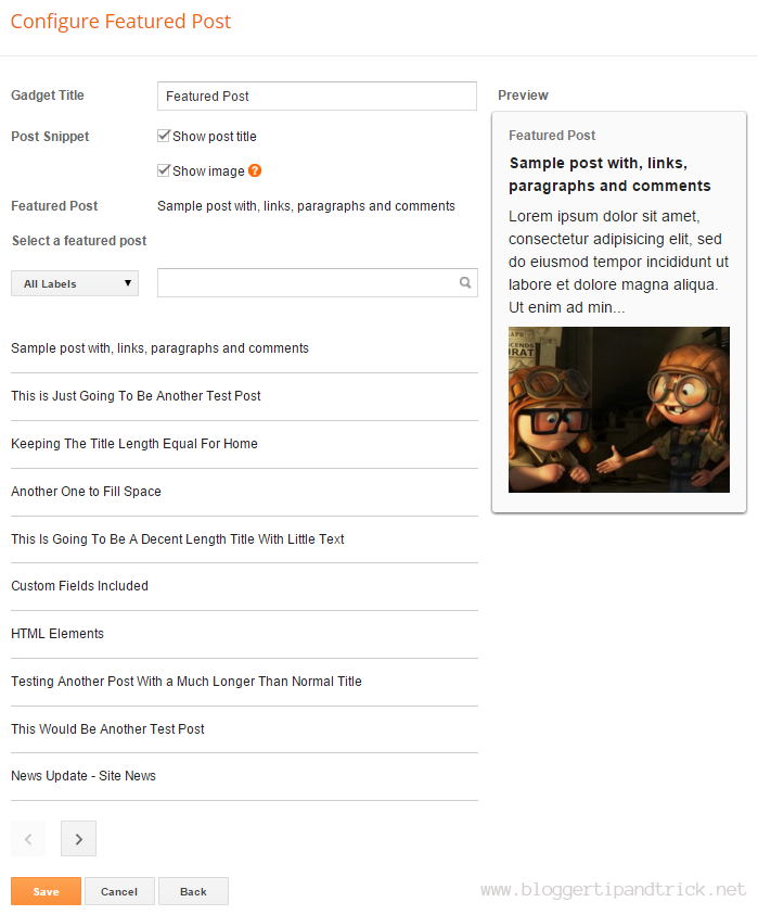 Blogger Featured Post Widget Options