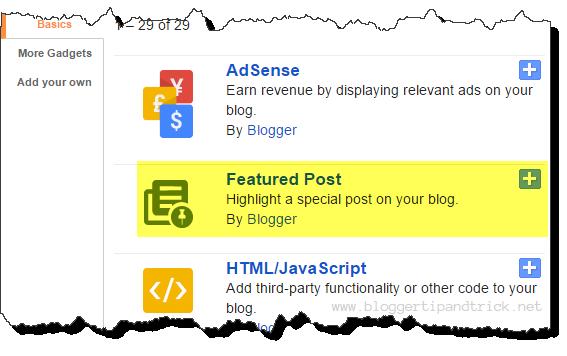 Blogger Featured Post Widget