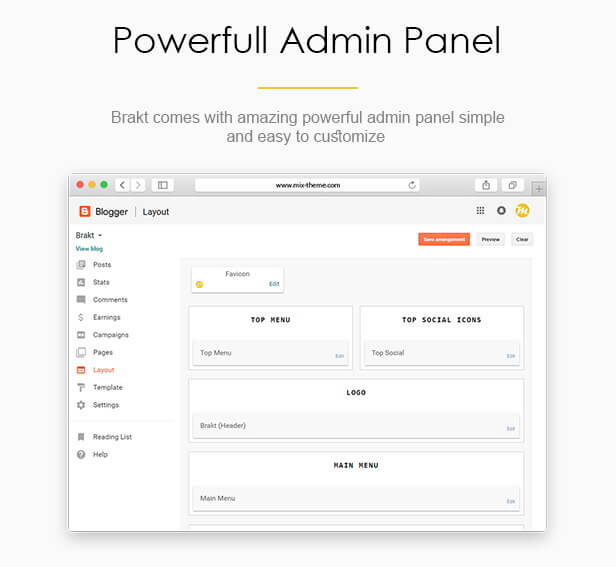 Powerful Admin Panel - Brakt Blogger Template