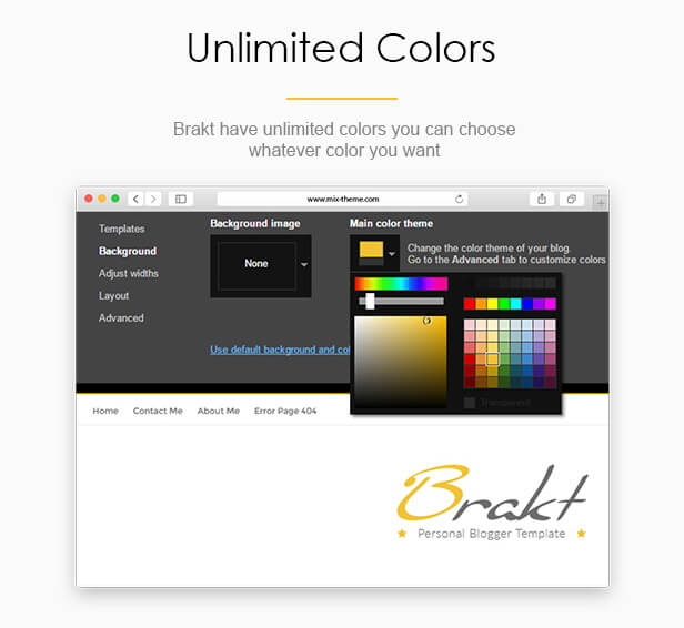 Unlimited Colors - Brakt Blogger Template