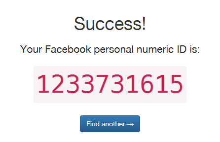 Facebook personal profile numeric ID