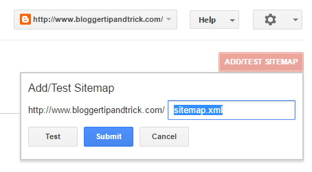 Add Test Sitemap - Google Search Console
