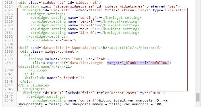 Blogger NoFollow Link List Widget Code