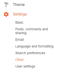 Blogger Other Settings