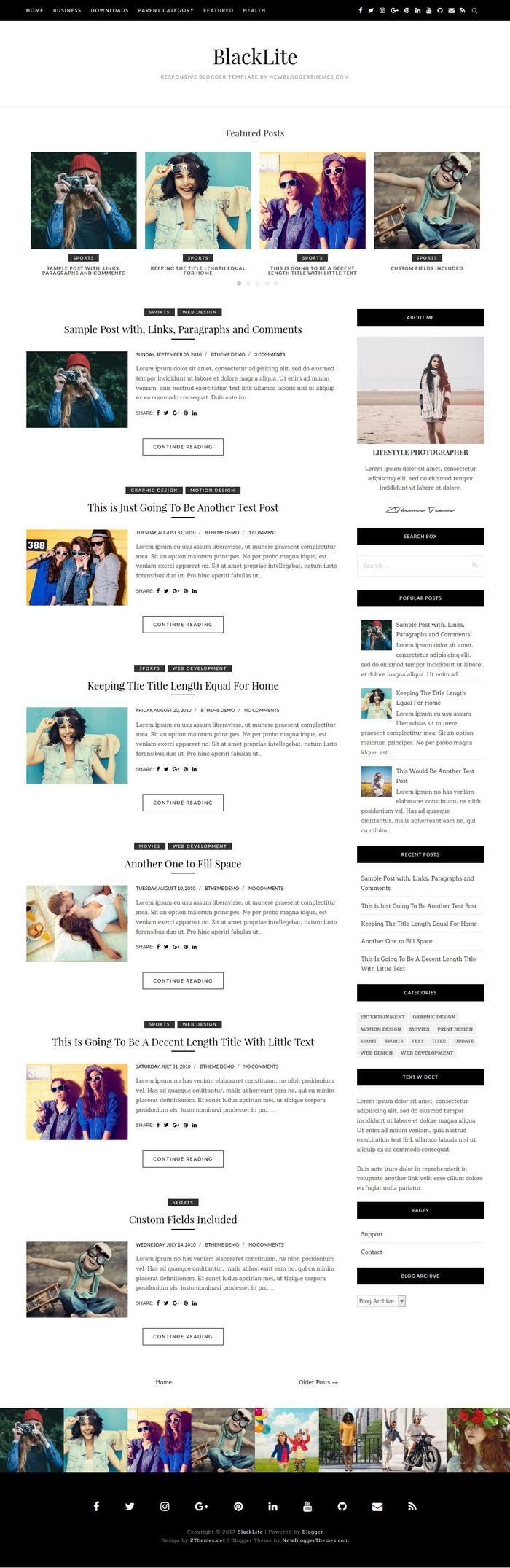 BlackLite Blogger Theme