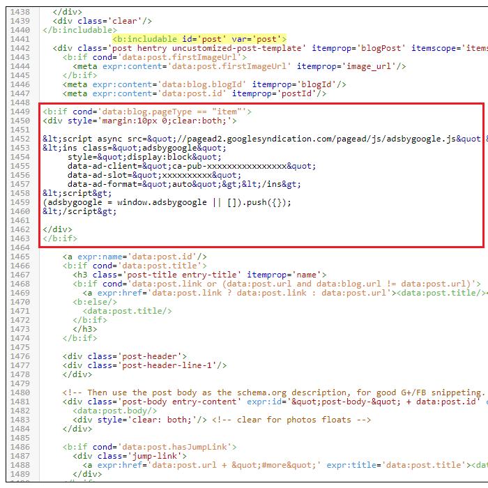 AdSense Above Post Title Code