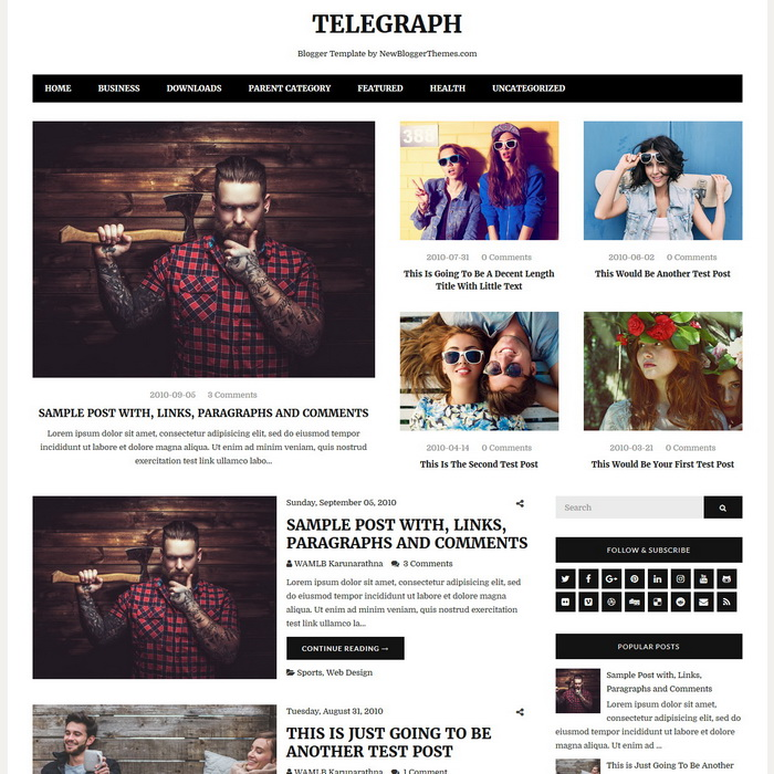 Telegraph Blogger Template