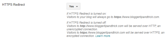 Blogger HTTPS Redirect Option for Custom Domains