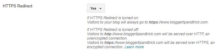 Blogger HTTPS Redirect Option for Custom Domains