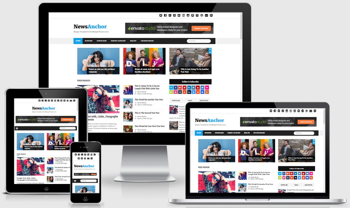 Responsive View - NewsAnchor Blogger Template