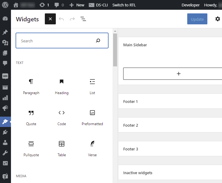WordPress Block Widgets Screen